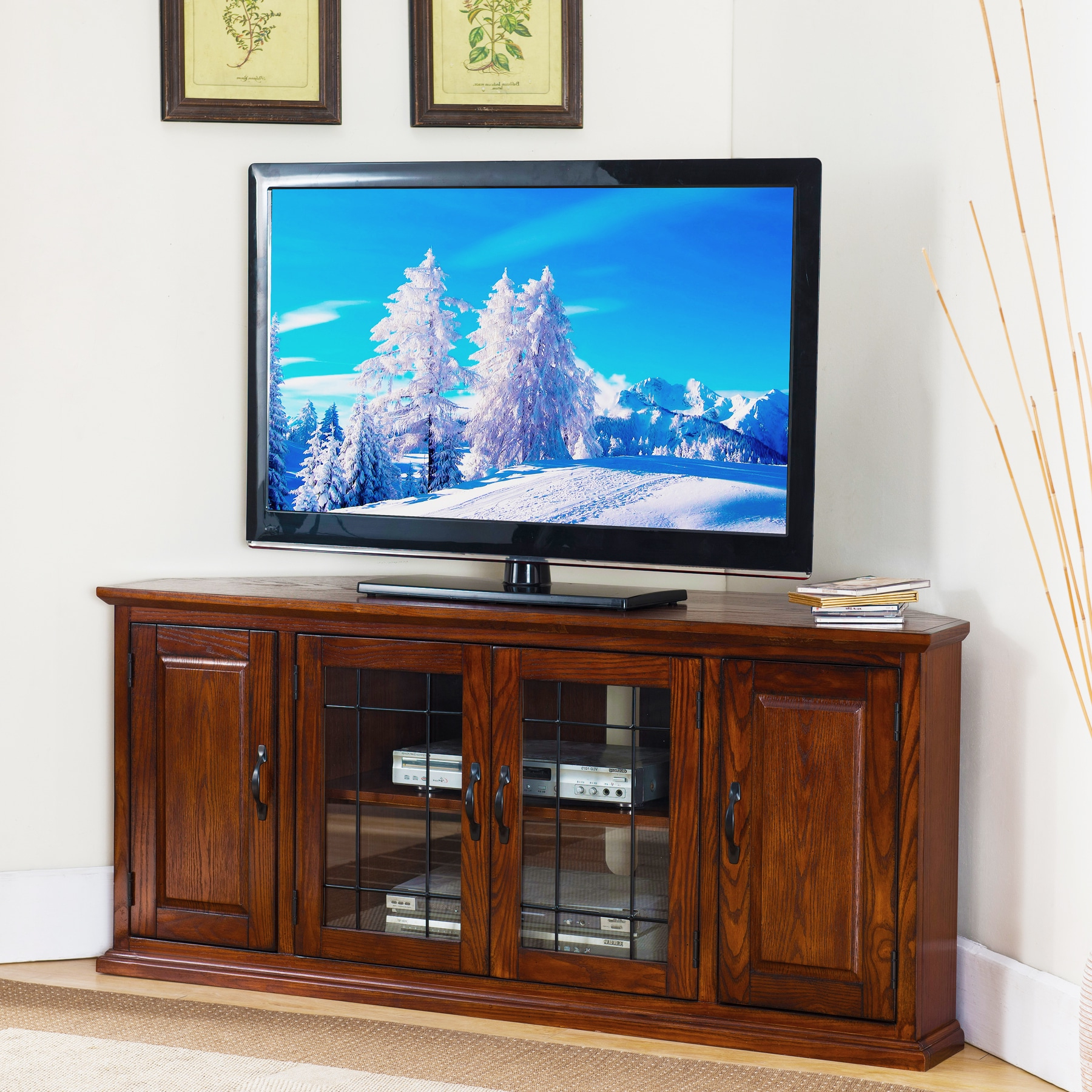 """Kd Furnishings Burnished Oak Finish Wood And Leaded Glass In 60"""" Corner Tv Stands Washed Oak (View 11 of 20)"""
