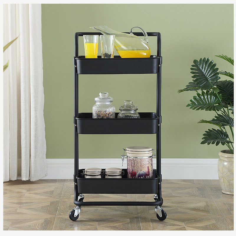 Kerrogee 3 Tier Rolling Multi Function Storage Trolley Intended For Modern Mobile Rolling Tv Stands With Metal Shelf Black Finish (View 6 of 20)