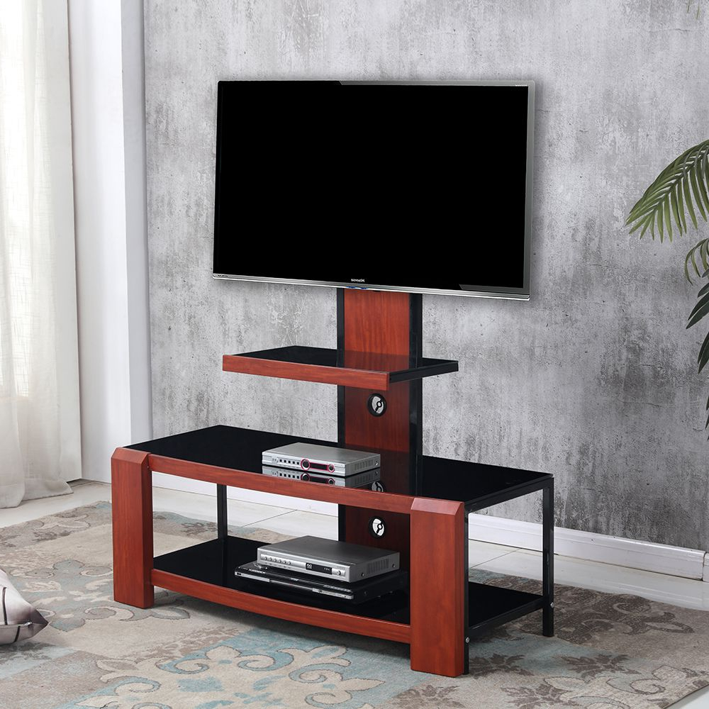 Kian Glass Tv Stand – Mahogany/black Intended For Rfiver Black Tabletop Tv Stands Glass Base (View 7 of 20)