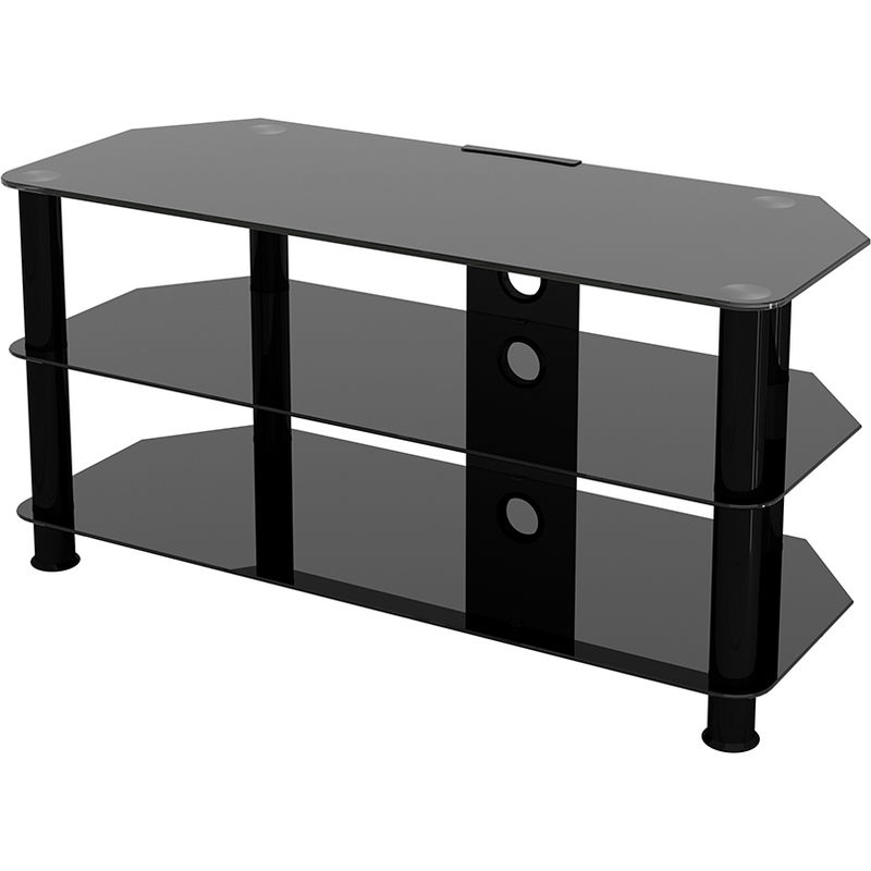 """King Glass Tv Stand 100cm, Black Legs, Black Glass, Cable In Tv Stands With Cable Management For Tvs Up To 55"""" (View 9 of 20)"""