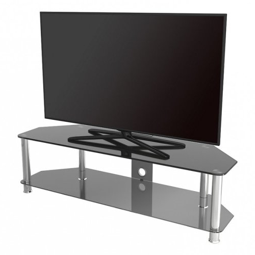 """King Glass Tv Stand 140cm, Chrome Legs, Black Glass, Cable Throughout Glass Shelves Tv Stands For Tvs Up To 65"""" (View 4 of 20)"""