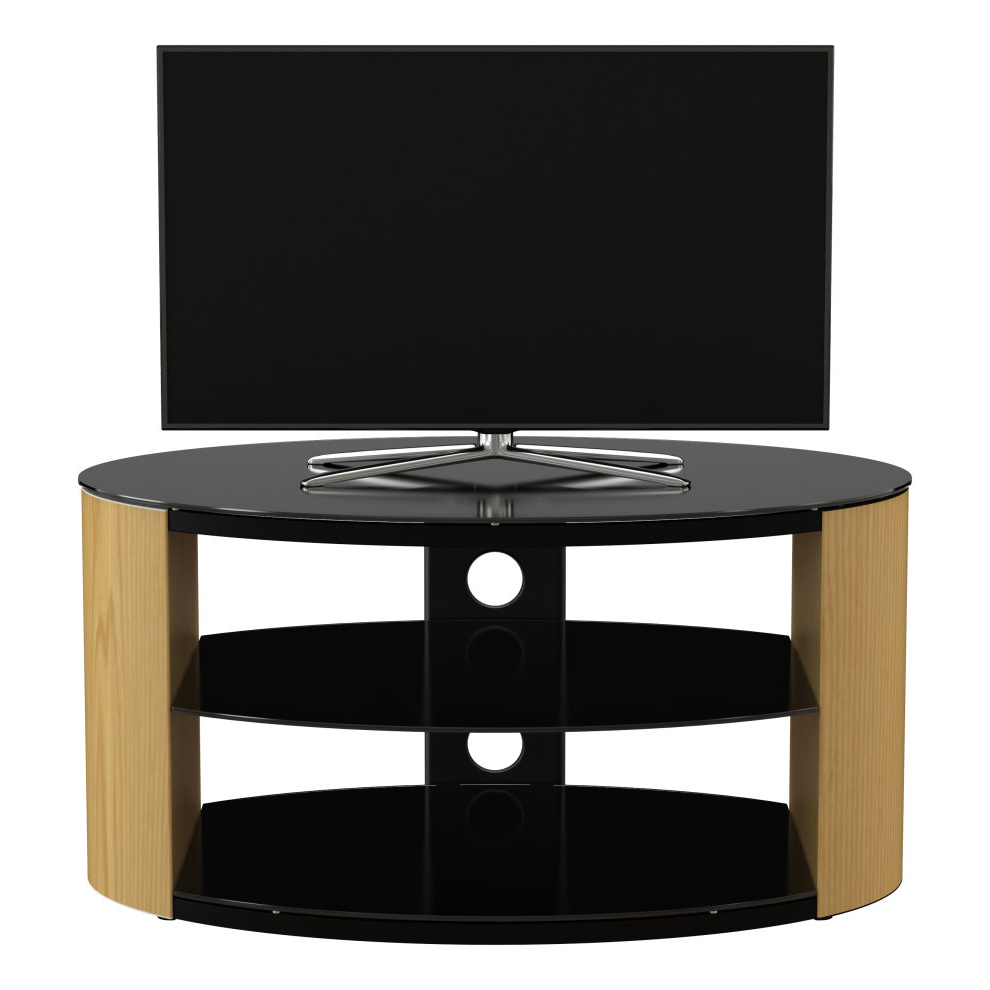 """King Oak Tv Stand 80cm, Black Glass Shelves, Tvs Up To 42 With Glass Doors Corner Tv Stands For Tvs Upto 42"""" (View 9 of 20)"""