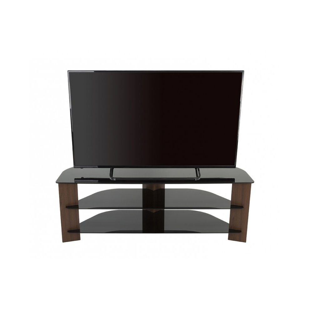 King Tv Stand Wood Effect With Black Glass Shelves Lcd Intended For Claudia Brass Effect Wide Tv Stands (View 13 of 20)