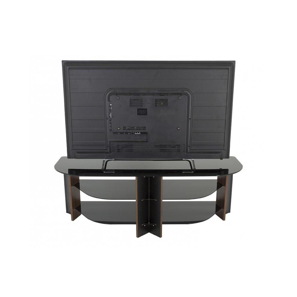 King Tv Stand Wood Effect With Black Glass Shelves Lcd With Claudia Brass Effect Wide Tv Stands (View 1 of 20)