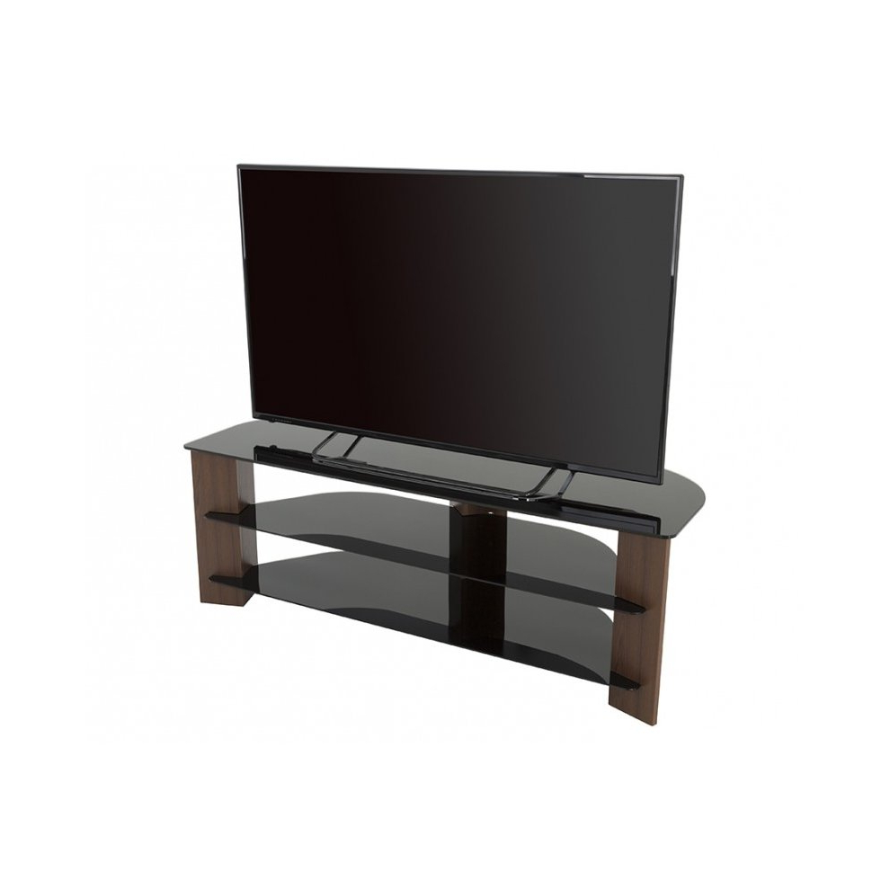 King Tv Stand Wood Effect With Black Glass Shelves Lcd Within Claudia Brass Effect Wide Tv Stands (View 7 of 20)