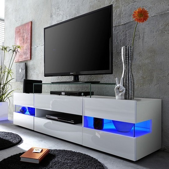 Kirsten Tv Stand In White With Gloss Fronts And Led 27541 Pertaining To Milano White Tv Stands With Led Lights (View 14 of 20)