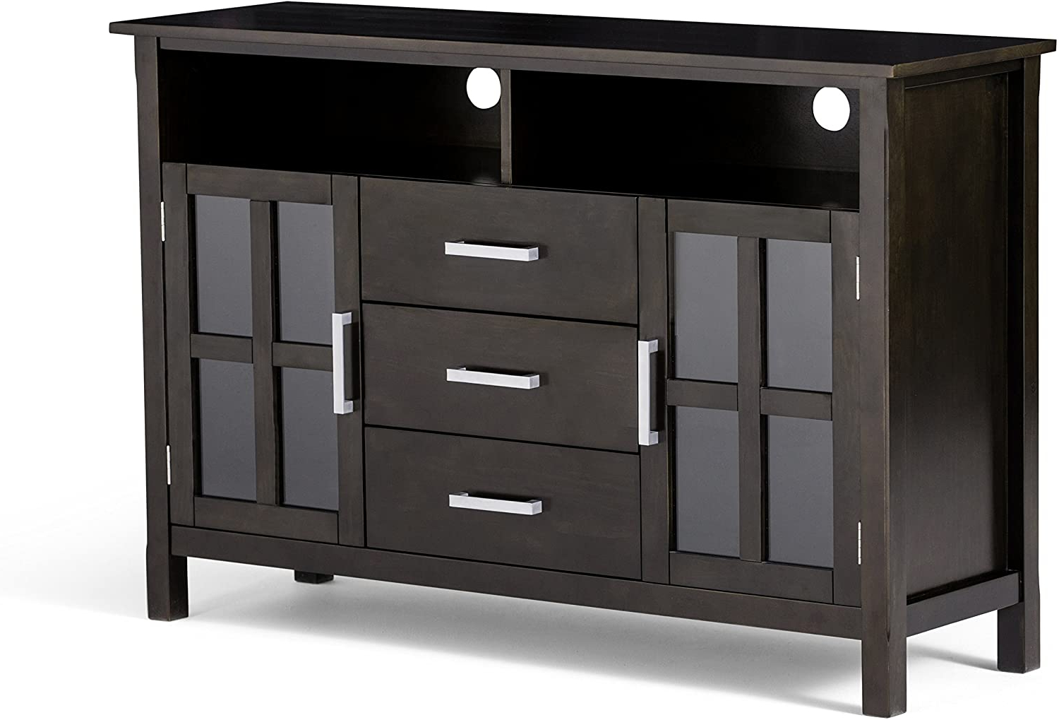 """Kitchener Solid Wood Universal Tall Tv Media Stand, 53 With Glass Shelves Tv Stands For Tvs Up To 50"""" (View 17 of 20)"""