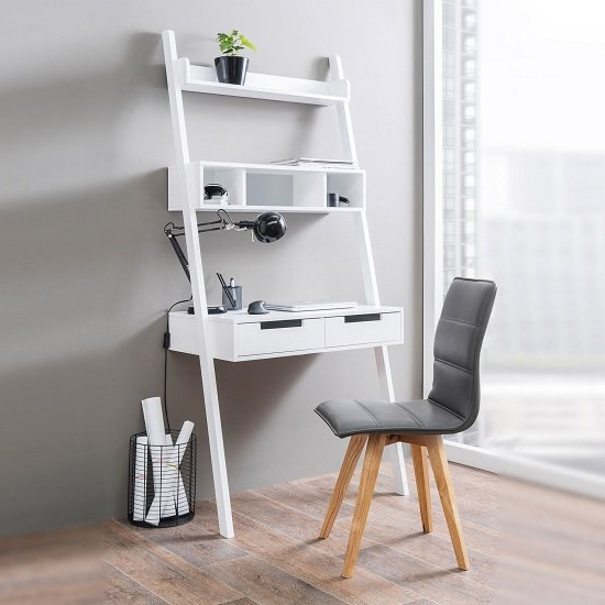 Kristina Retro Ladder Style Computer Desk In White With Throughout Tiva White Ladder Tv Stands (View 5 of 20)