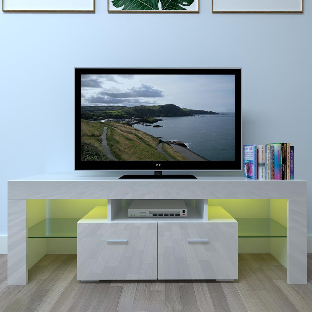 Ktaxon High Gloss Tv Stand Unit Cabinet Led Light Shelves Inside Milano White Tv Stands With Led Lights (View 2 of 20)