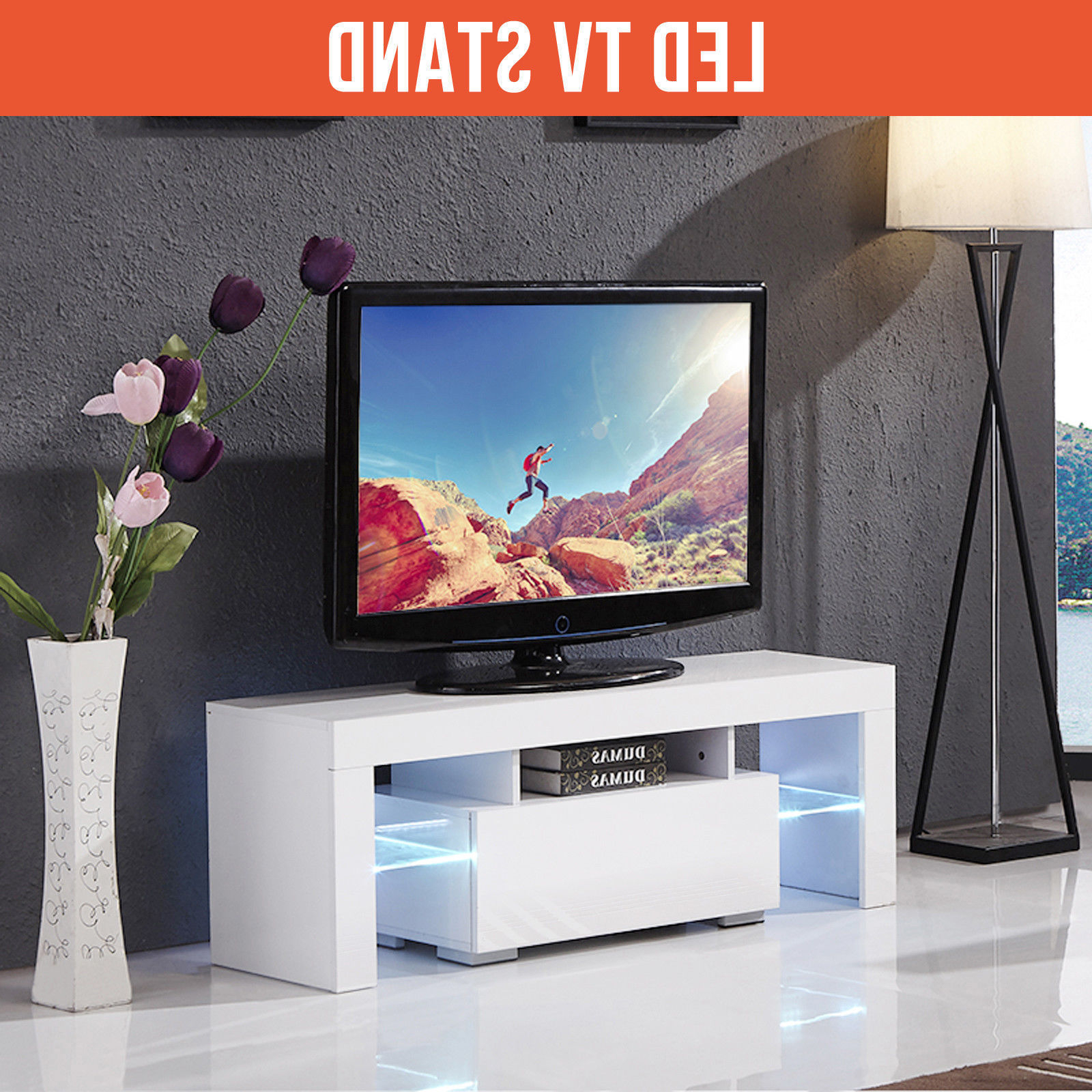 Ktaxon Modern Led Tv Unit Cabinet Stand Shelf Table Free For 57'' Led Tv Stands Cabinet (View 5 of 20)