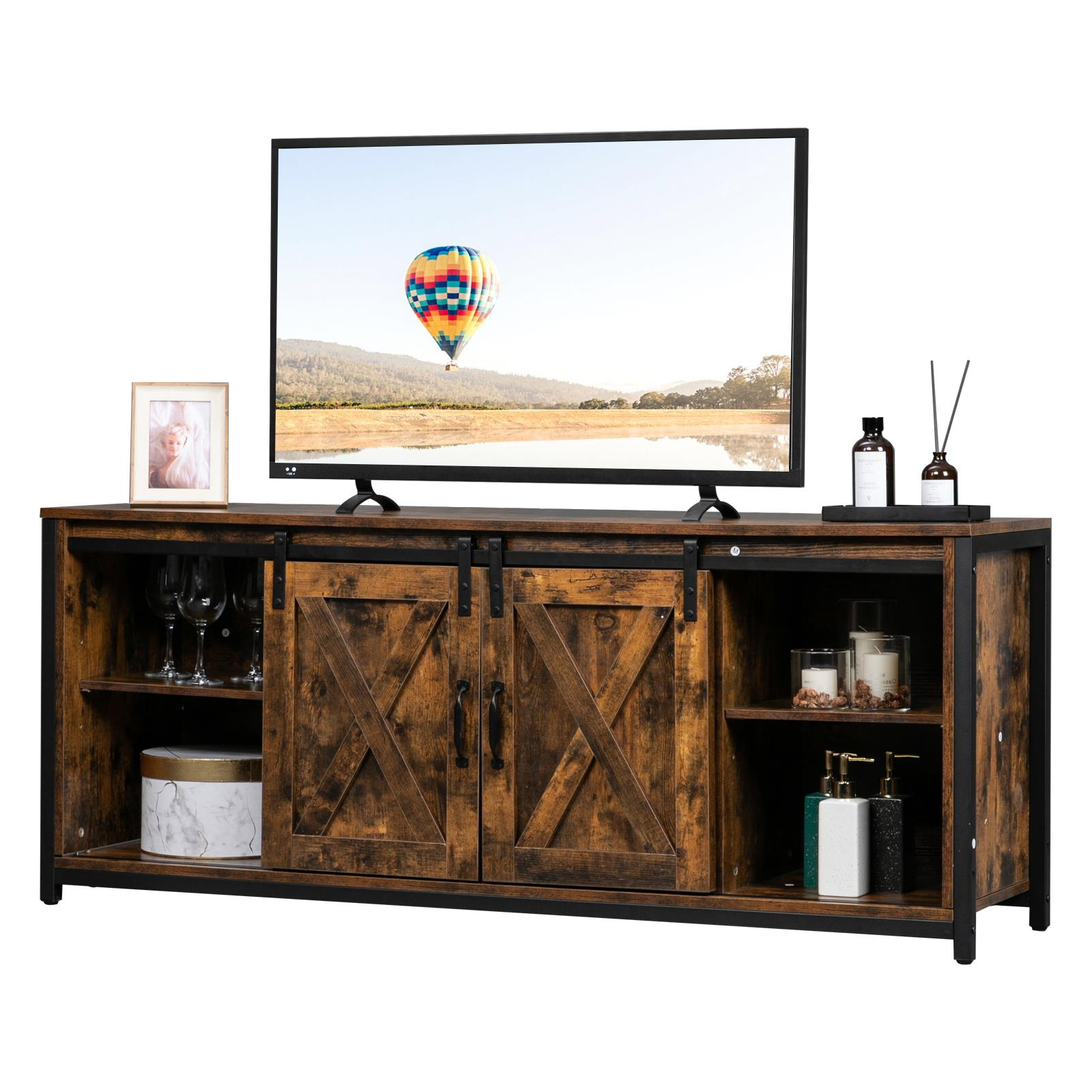 Ktaxon Sliding Barn Doors Tv Stand For 65 Inch Tv Regarding Tv Stands With Sliding Barn Door Console In Rustic Oak (View 5 of 20)