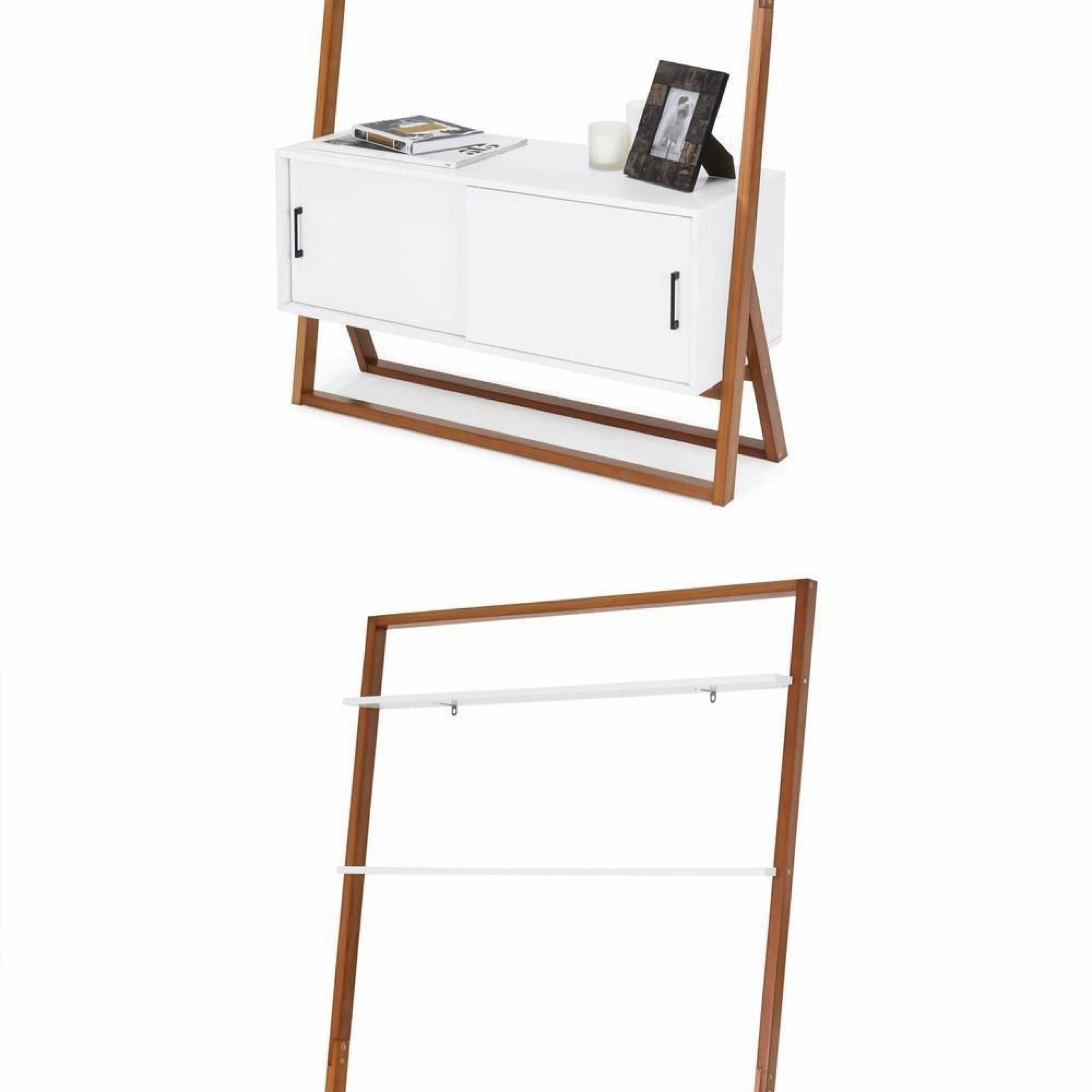 Ladder Tv Stand Shelf Cabinet Contemporary White Wood With Tiva White Ladder Tv Stands (View 3 of 20)