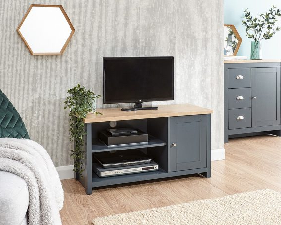 Lancaster Blue Small Tv Unit – One Stop Furniture Online Intended For Lancaster Small Tv Stands (View 1 of 20)