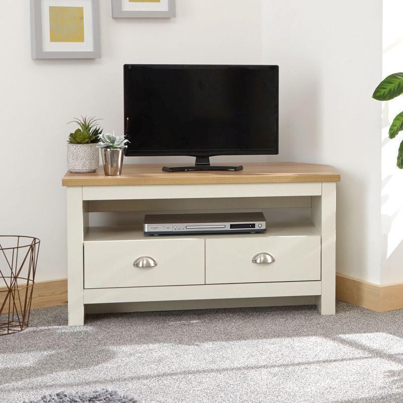 Lancaster Corner Tv Unit Cream & Oak 1 Shelf 2 Drawer Intended For Fulton Oak Effect Corner Tv Stands (View 18 of 20)