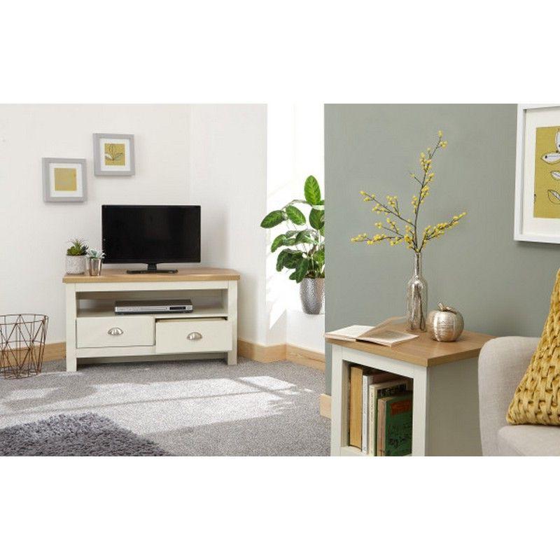 Lancaster Corner Tv Unit Cream & Oak 1 Shelf 2 Drawer With Regard To Lancaster Small Tv Stands (View 7 of 20)