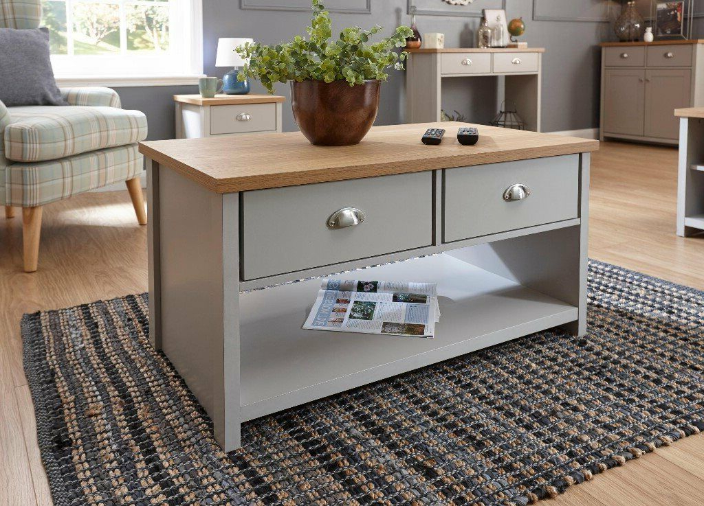 Lancaster Grey/oak Large Tv Stand And Coffee Table – New Intended For Lancaster Corner Tv Stands (View 7 of 20)