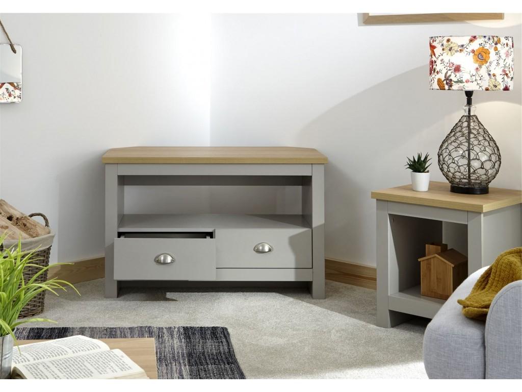 Lancaster Grey Oak Top 2 Drawer Shelf Living Room Corner Pertaining To Lancaster Large Tv Stands (View 3 of 20)