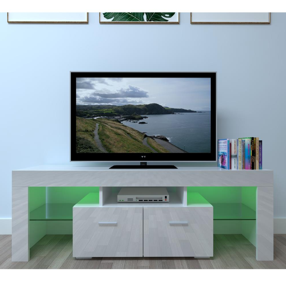Large High Gloss White Tv Unit Cabinet Stand W/led Lights With Ktaxon Modern High Gloss Tv Stands With Led Drawer And Shelves (View 2 of 20)