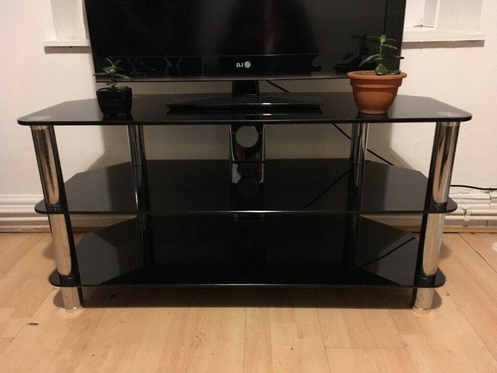 Large Modern Black Glass 3 Tier Television Table Corner Throughout Contemporary Black Tv Stands Corner Glass Shelf (View 18 of 20)