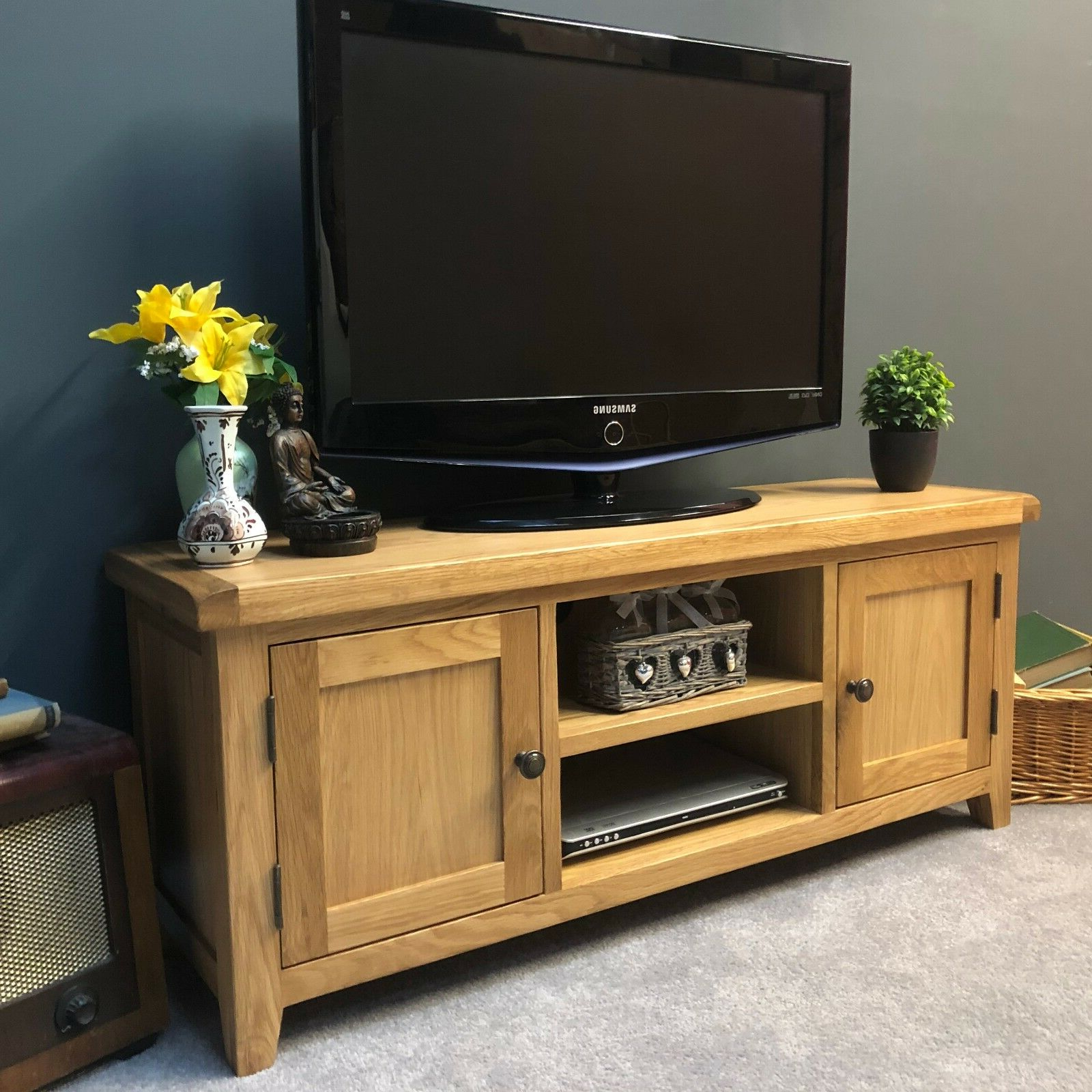 Large Oak Tv Stand Wide Solid Wood Television Unit With Throughout Orsen Wide Tv Stands (View 17 of 20)