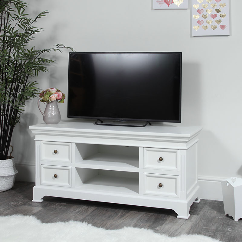 Large Tv / Media Unit Daventry White Range – Melody Maison® Inside Hannu Tv Media Unit White Stands (View 10 of 20)