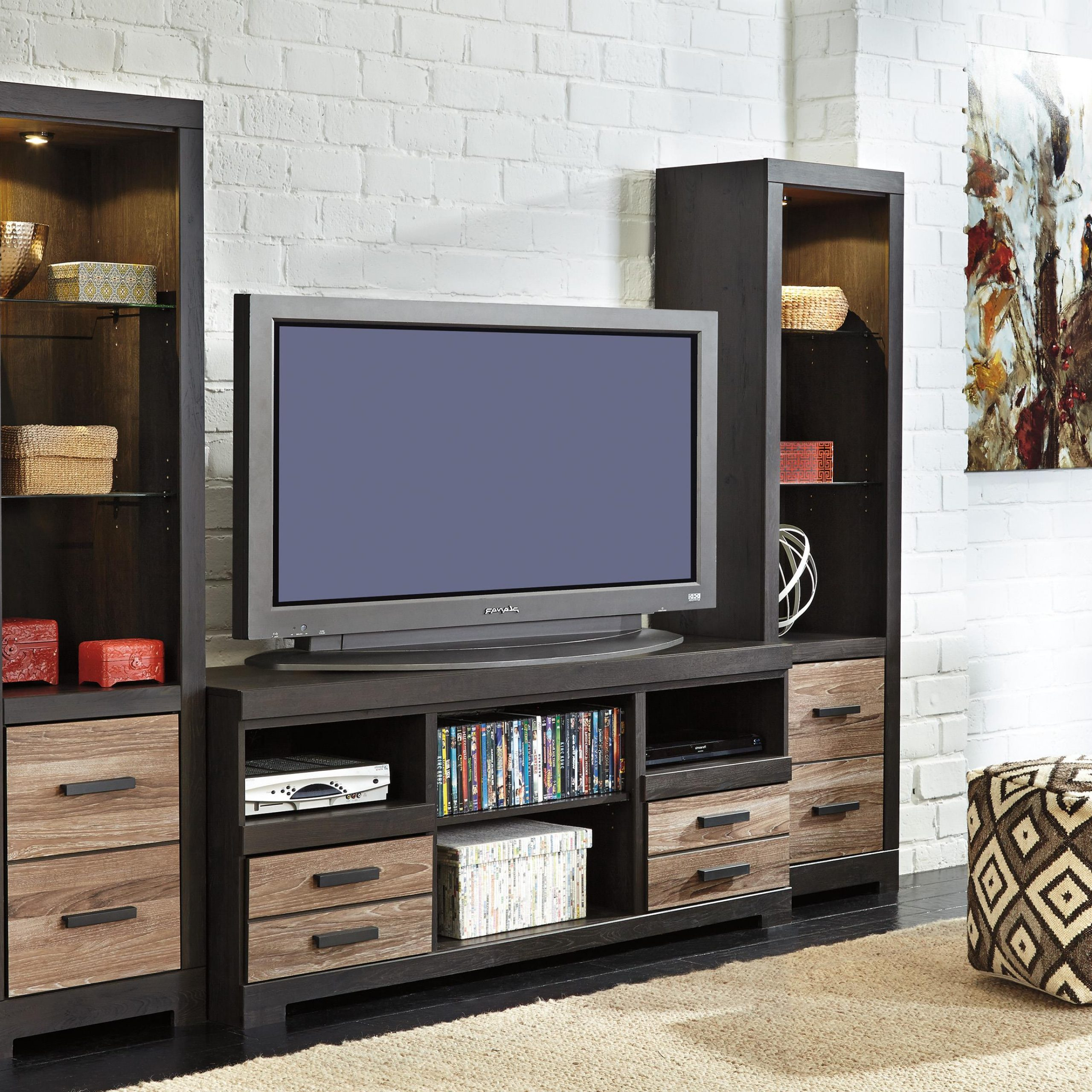 Large Tv Stand & 2 Tall Pierssignature Design Intended For Lancaster Large Tv Stands (View 18 of 20)