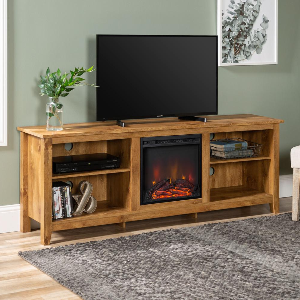 Large Tv Stand Electric Fireplace Media Console Farmhouse Inside Electric Fireplace Tv Stands With Shelf (View 6 of 20)