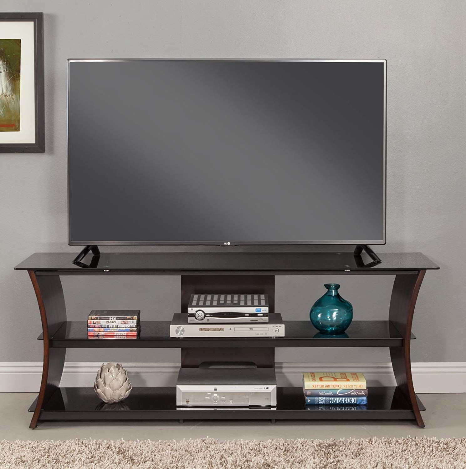 """Latitude Run Pinkerton 55 Tv Stand Features Large Open Pertaining To Tv Stands With Cable Management For Tvs Up To 55"""" (View 6 of 20)"""
