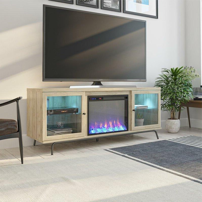"""Latitude Run Thoma Tv Stand For Tvs Up To 70"""" With With Regard To Hetton Tv Stands For Tvs Up To 70"""" With Fireplace Included (View 16 of 20)"""