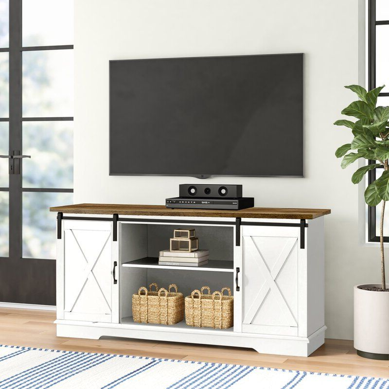 Laurel Foundry Modern Farmhouse Berene Tv Stand For Tvs Up In Woven Paths Franklin Grooved Two Door Tv Stands (View 9 of 20)
