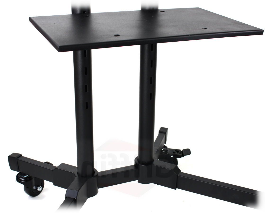 Lcd Tv Cart Stand Rolling Av Plasma Flat Panel Screen With Regard To Rfiver Modern Tv Stands Rolling Wheels Black Steel Pole (View 7 of 20)