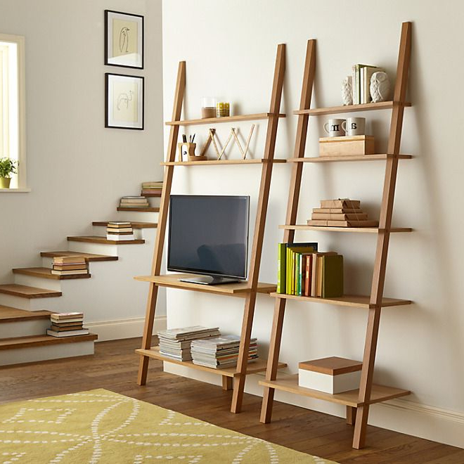 Leaning Ladder Style Bookshelves – The Furniture Co Throughout Tiva White Ladder Tv Stands (View 17 of 20)