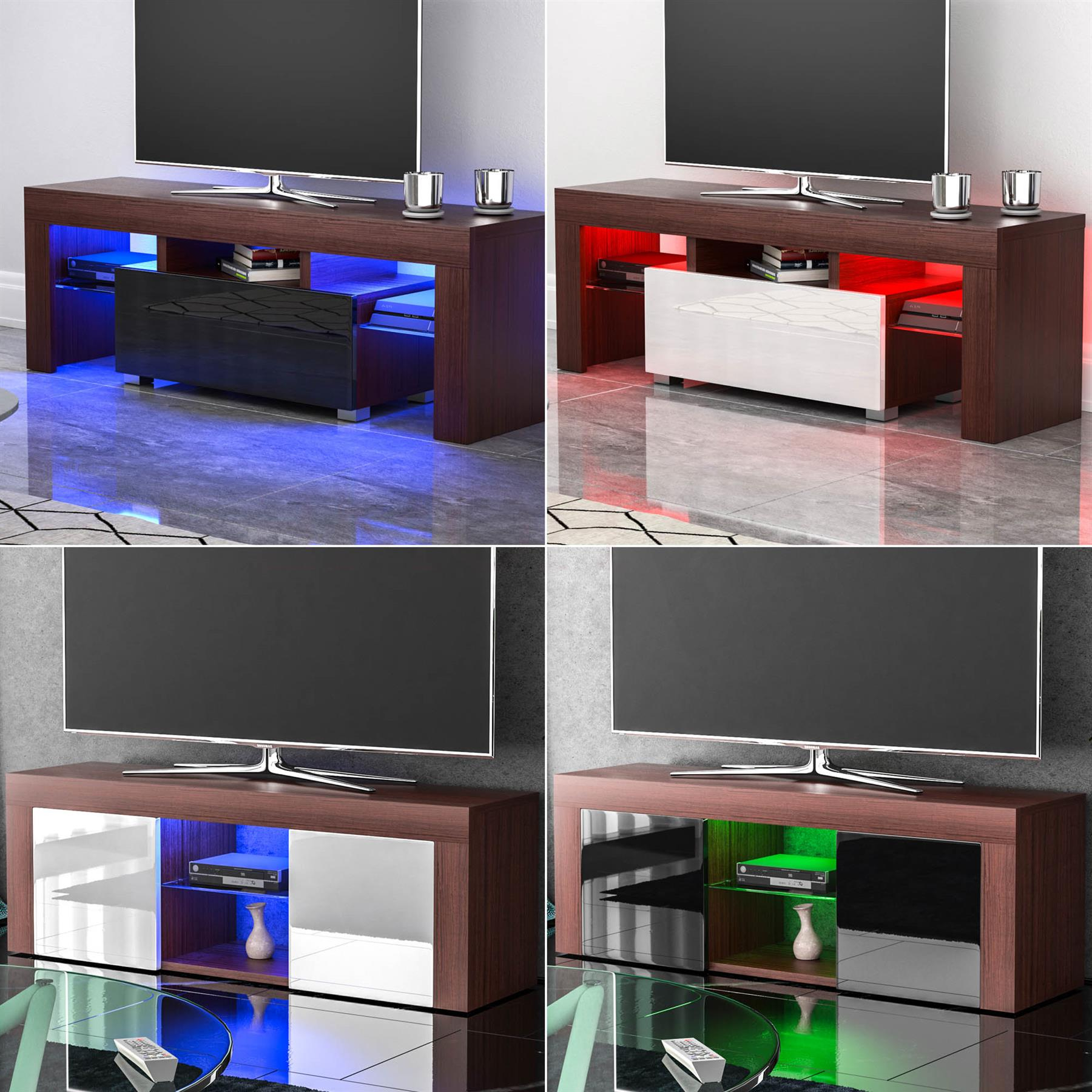 Led Tv Stand Cabinet Unit Drawer Gloss Matte Mdf Throughout Solo 200 Modern Led Tv Stands (View 8 of 20)