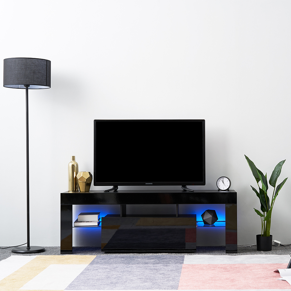 Led Tv Stand Modern Led Living Room Furniture Tv Cabinets For 57'' Led Tv Stands With Rgb Led Light And Glass Shelves (View 3 of 20)