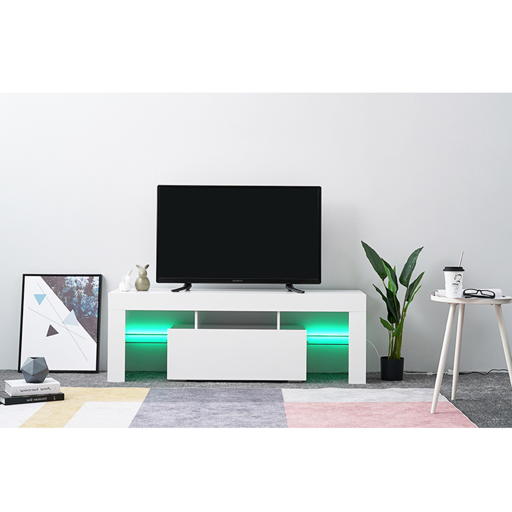 Led Tv Stand Modern Led Living Room Furniture Tv Cabinets In 57'' Led Tv Stands With Rgb Led Light And Glass Shelves (View 2 of 20)