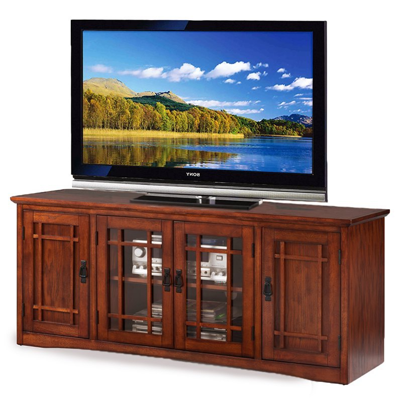 """Leick Furniture Mission 60"""" Tv Stand In Medium Oak – 82360 Regarding Mission Corner Tv Stands For Tvs Up To 38"""" (View 12 of 20)"""