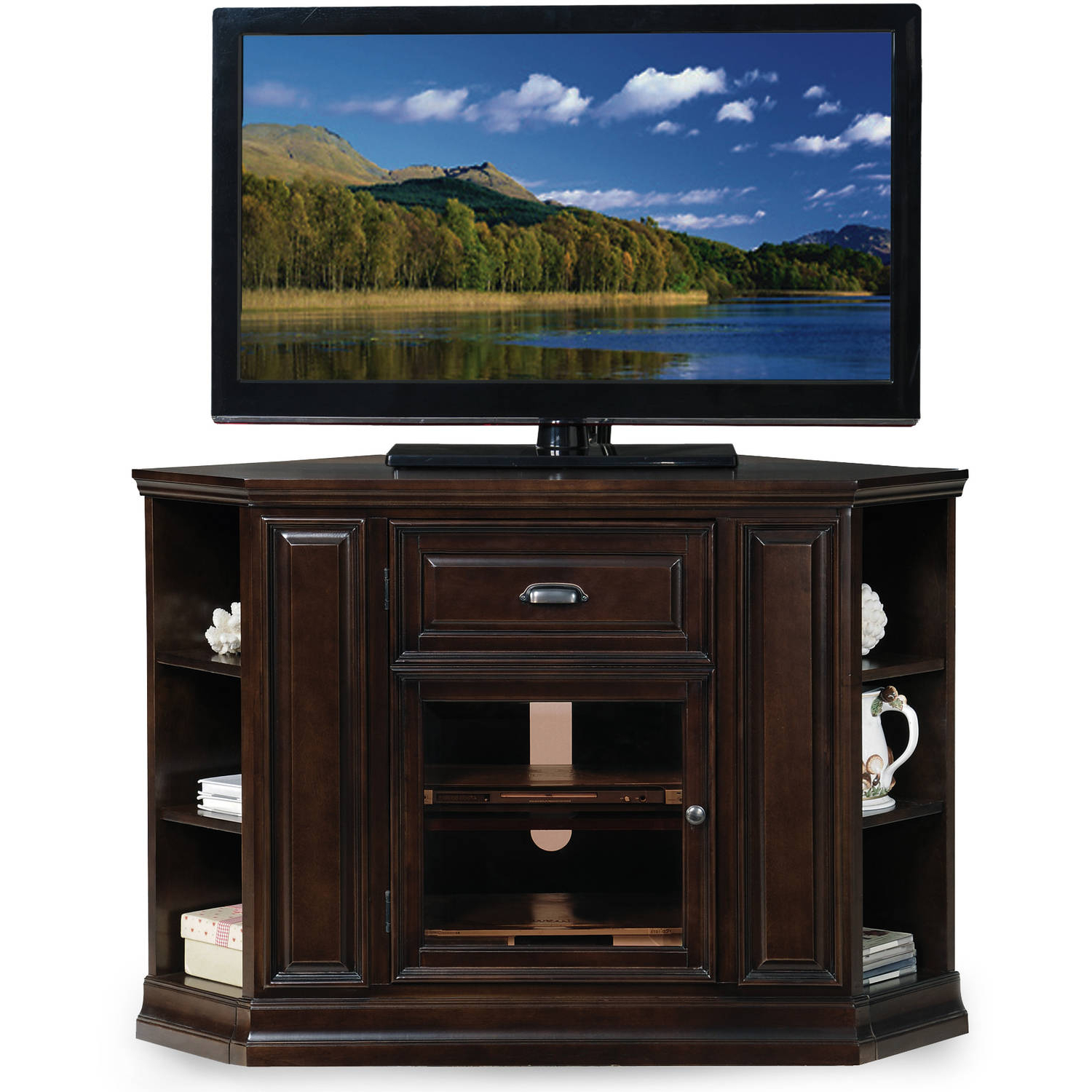 """Leick Home 32"""" High Corner Tv Stand W/bookcase For Tv's Up In Paulina Tv Stands For Tvs Up To 32"""" (View 14 of 20)"""