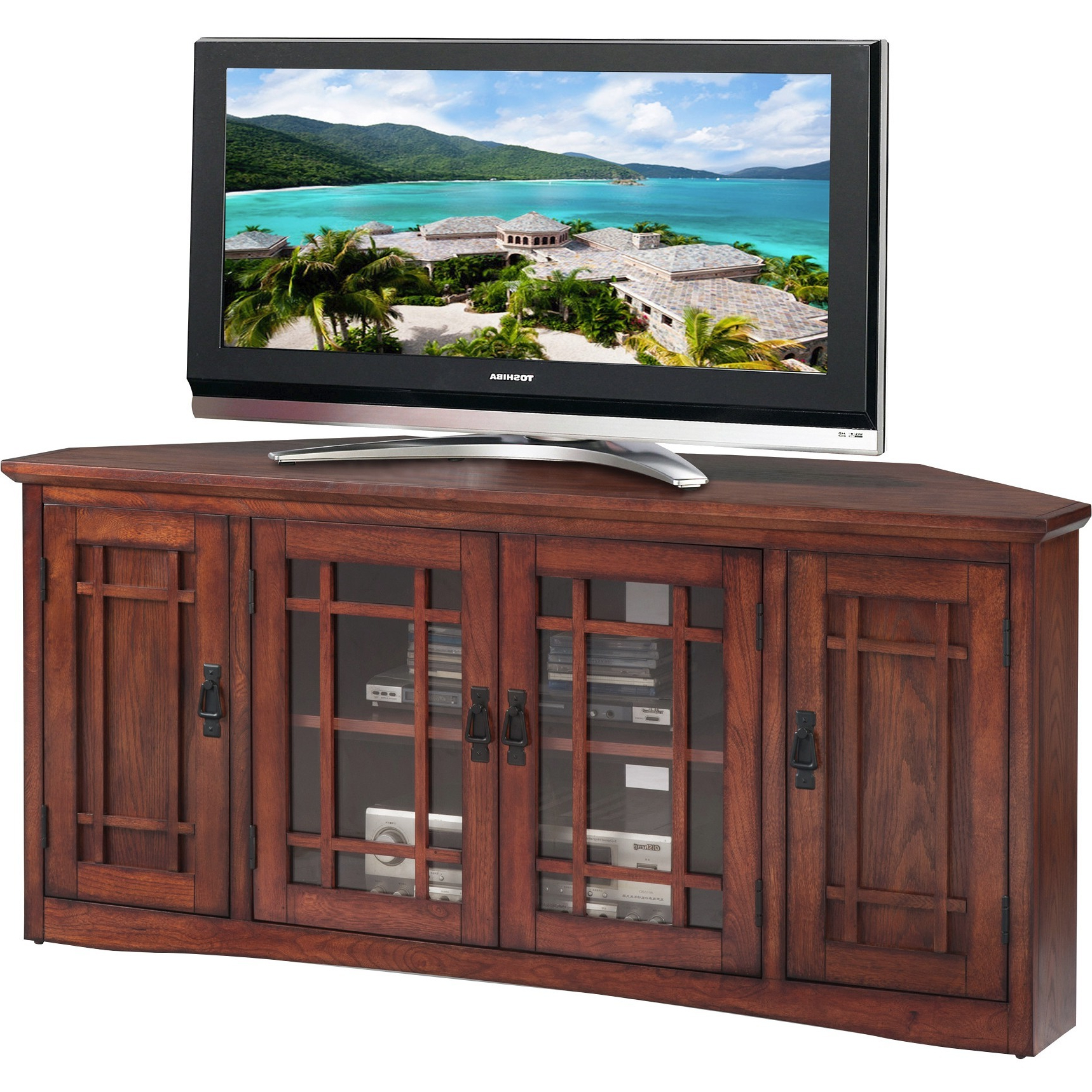 """Leick Home 56"""" Corner Tv Stand For Tv's Up To 60"""", Mission Throughout Glass Shelves Tv Stands For Tvs Up To 60"""" (View 6 of 20)"""