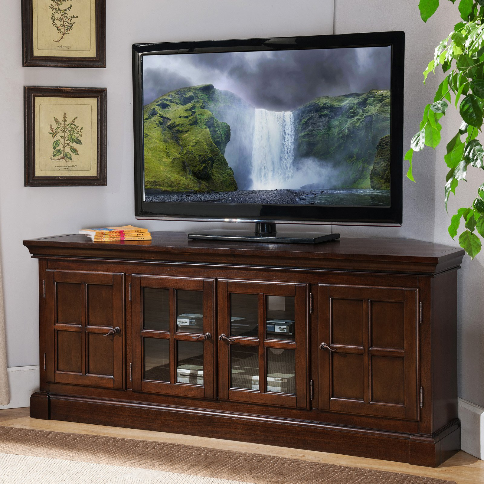 """Leick Home Bella Maison 56"""" Corner Tv Stand For Tv's Up To Inside Totally Tv Stands For Tvs Up To 65"""" (View 9 of 20)"""