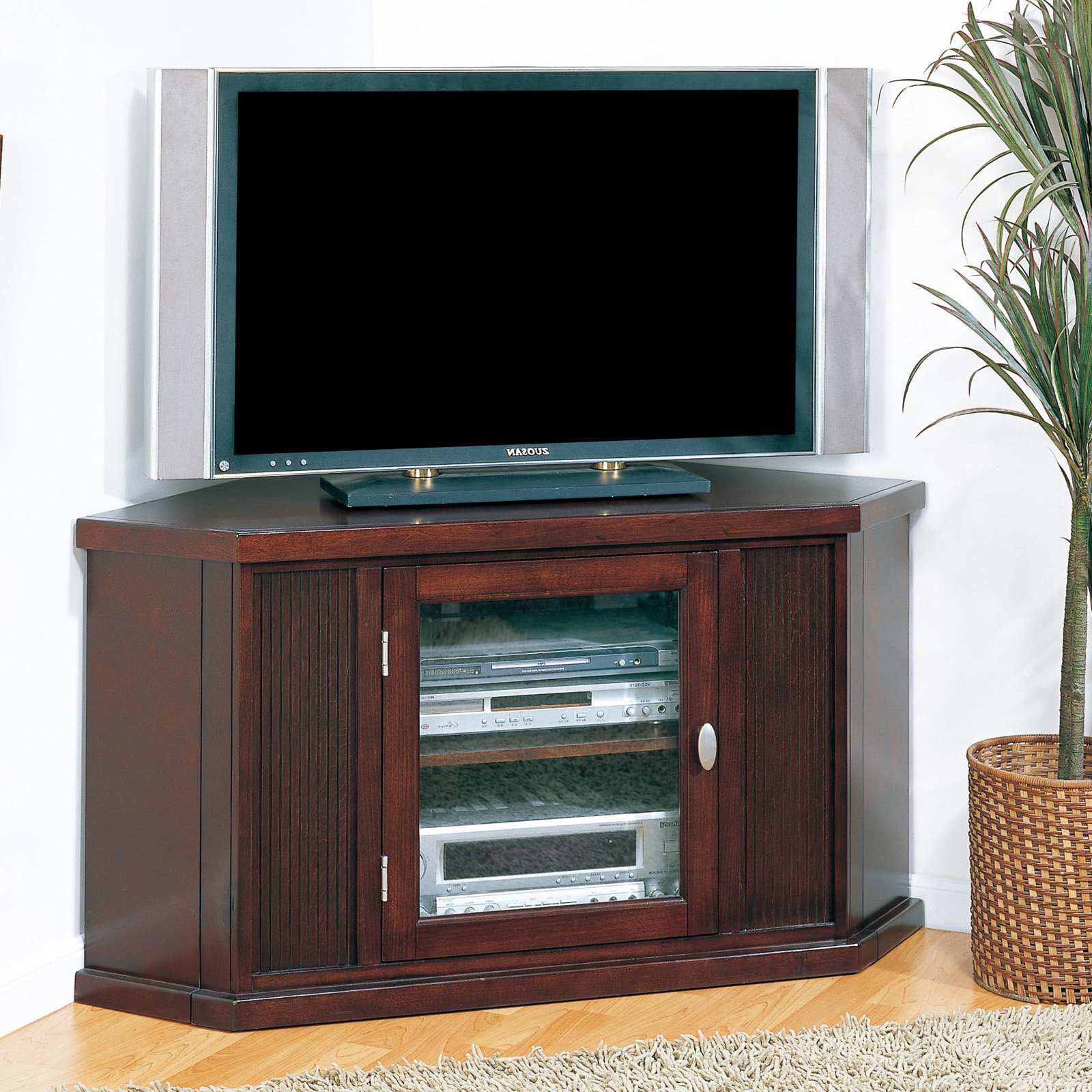 """Leick Home Riley Holliday 46"""" Corner Tv Stand For Tv's Up In Hal Tv Stands For Tvs Up To 60"""" (View 2 of 20)"""