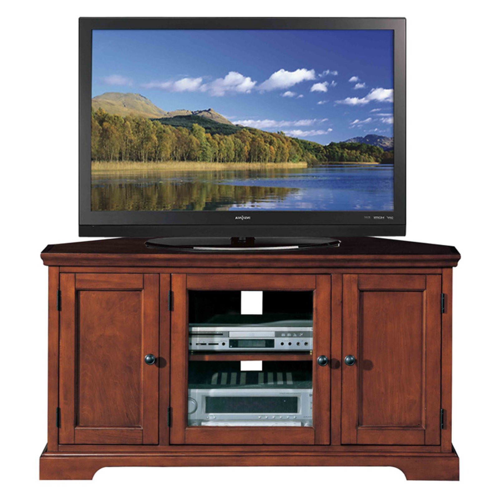 """Leick Home Westwood 46"""" Corner Tv Stand W/storage For Tv's Pertaining To Colleen Tv Stands For Tvs Up To 50"""" (View 10 of 20)"""