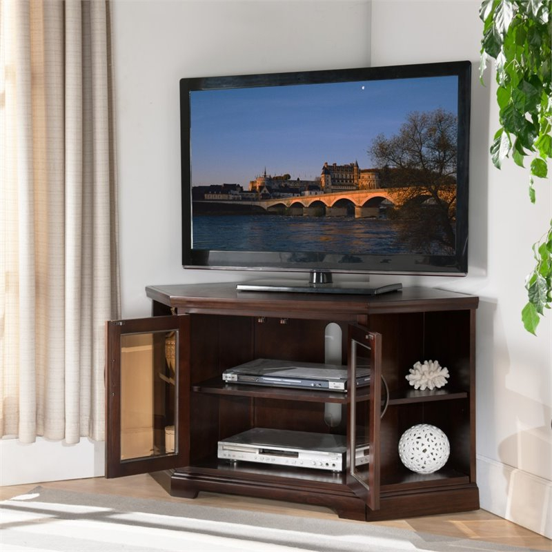"""Leick Riley Holliday 46"""" Corner Tv Stand In Chocolate Throughout Mission Corner Tv Stands For Tvs Up To 38"""" (View 8 of 20)"""