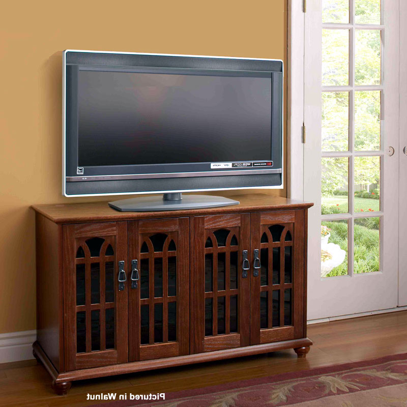"""Leslie Dame Mission Style 50 Inch Tv Stand With Glass Intended For Mission Corner Tv Stands For Tvs Up To 38"""" (View 15 of 20)"""