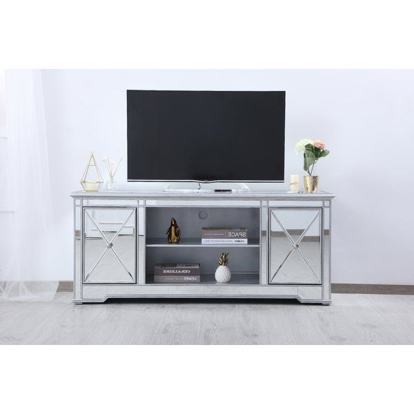 """Lilianna Tv Stand For Tvs Up To 70""""   Mirror Tv Stand, Tv Within Fitzgerald Mirrored Tv Stands (View 11 of 20)"""