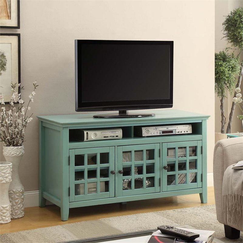 Linon Largo Wood Tv Stand In Antique Turquoise – 650202trq01u Inside Rustic Grey Tv Stand Media Console Stands For Living Room Bedroom (View 14 of 20)