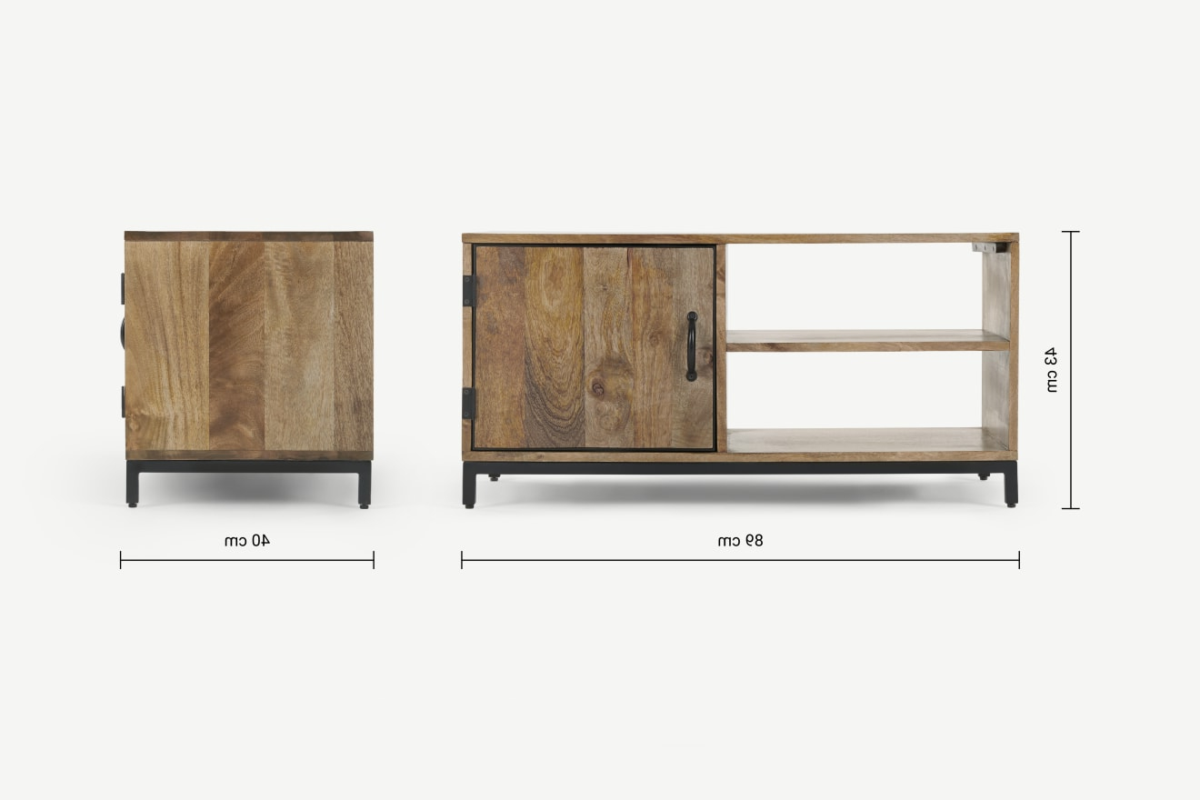 Lomond Compact Tv Stand, Mango Wood And Black   Made For Bromley Grey Corner Tv Stands (View 9 of 20)