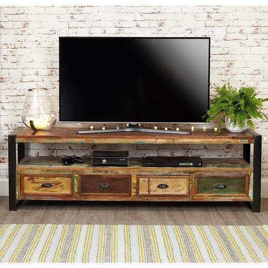 London Urban Chic Wooden Large Tv Stand With 4 Drawers With Tv Stands With Drawer And Cabinets (View 6 of 20)