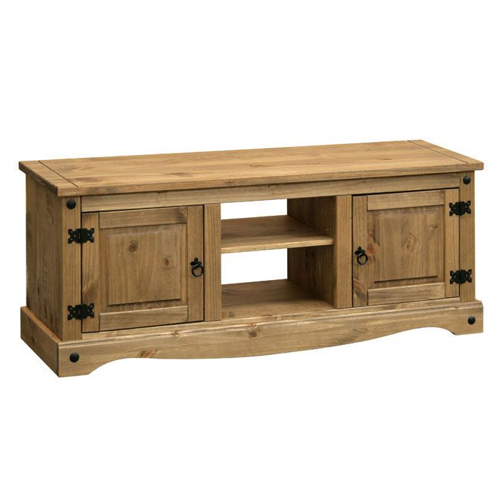 Long Tv Unit In Traditional Pine With Black Steel With Regard To Corona Small Tv Stands (View 5 of 20)