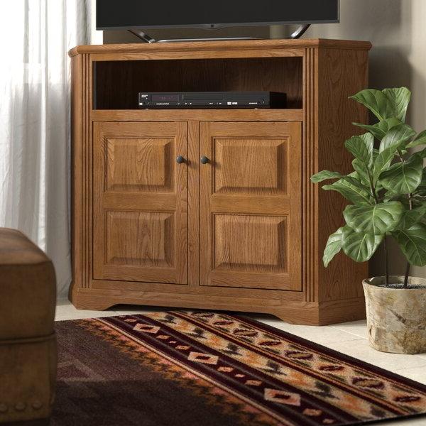 """Loon Peak® Glastonbury Solid Wood Corner Tv Stand For Tvs In Rustic Corner 50"""" Solid Wood Tv Stands Gray (View 1 of 20)"""