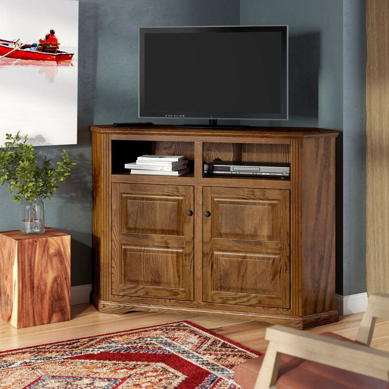 """Loon Peak Glastonbury Solid Wood Corner Tv Stand For Tvs Intended For Camden Corner Tv Stands For Tvs Up To 60"""" (View 7 of 20)"""